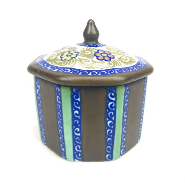 Gouda Pottery Jar With Lid / Vase / Pot / Art Deco / Blue / Brown / Turquoise